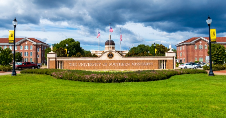 The entrance to the University of Southern Mississippi, which is located in Hattiesville, the safest small city in MS.