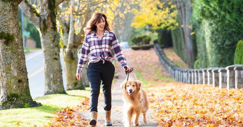 A woman and her dog walk on a sidewalk lined with colorful fallen leaves.