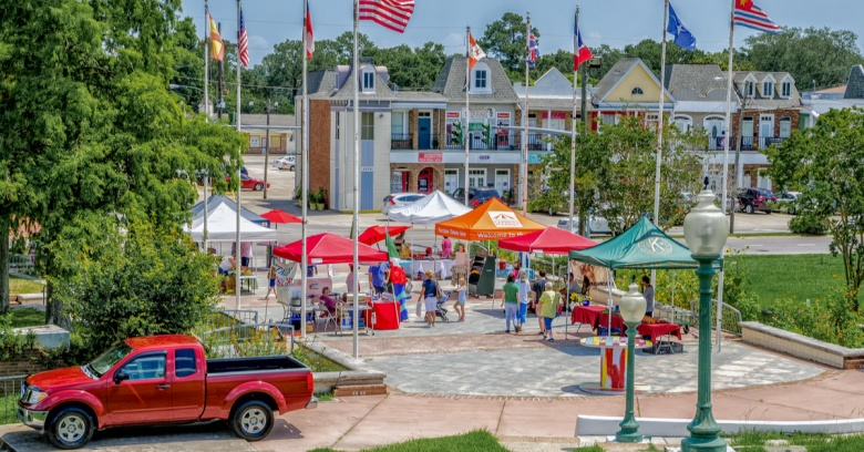 A farmer's market is in full swing at LaSalle's Landing in Kenner, the safest small city in Louisiana.