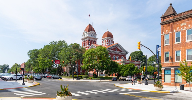 The Crown Point Courthouse Square Historic District, located in Crown Point, IN.