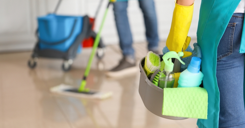 A cleaning crew arrives at a home with an ample amount of cleaning supplies