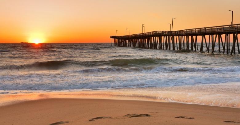 A sunrise at Virginia Beach.