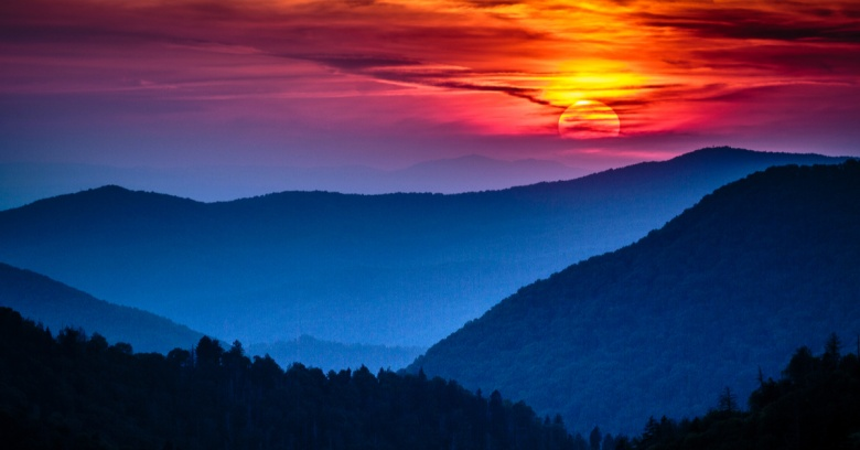 A view of Great Smoky Mountains National Park in Tennessee.