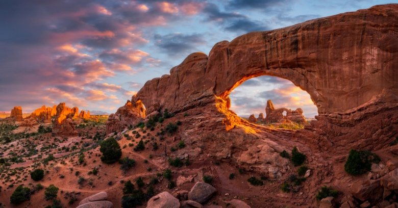 A view of Arches National Park in Utah.