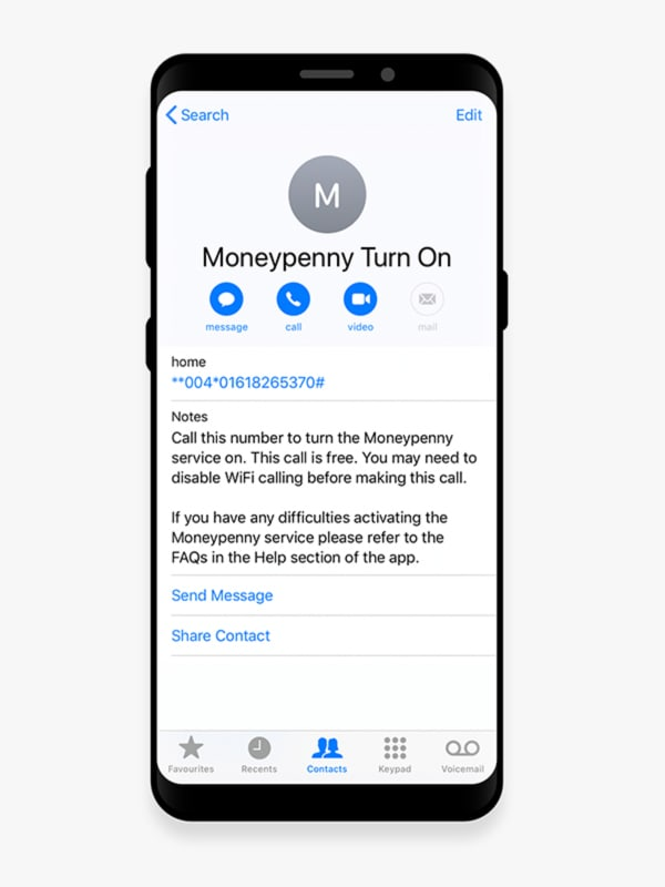 moneypenny - contact on a mobile phone