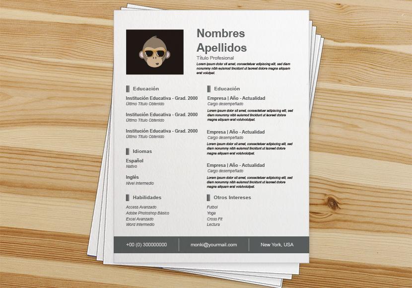 Modelo De Curriculum Vitae Simple Cv En Formato Word Gratis