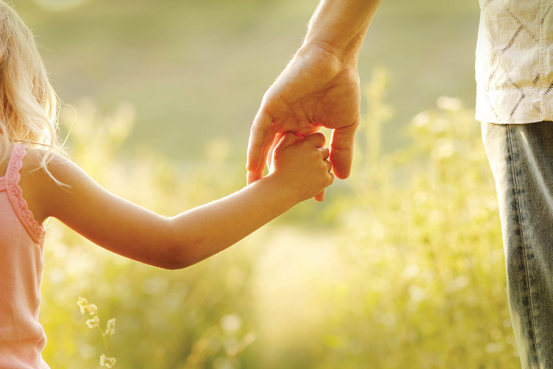 little girl holding dad's finger in a field at sunset