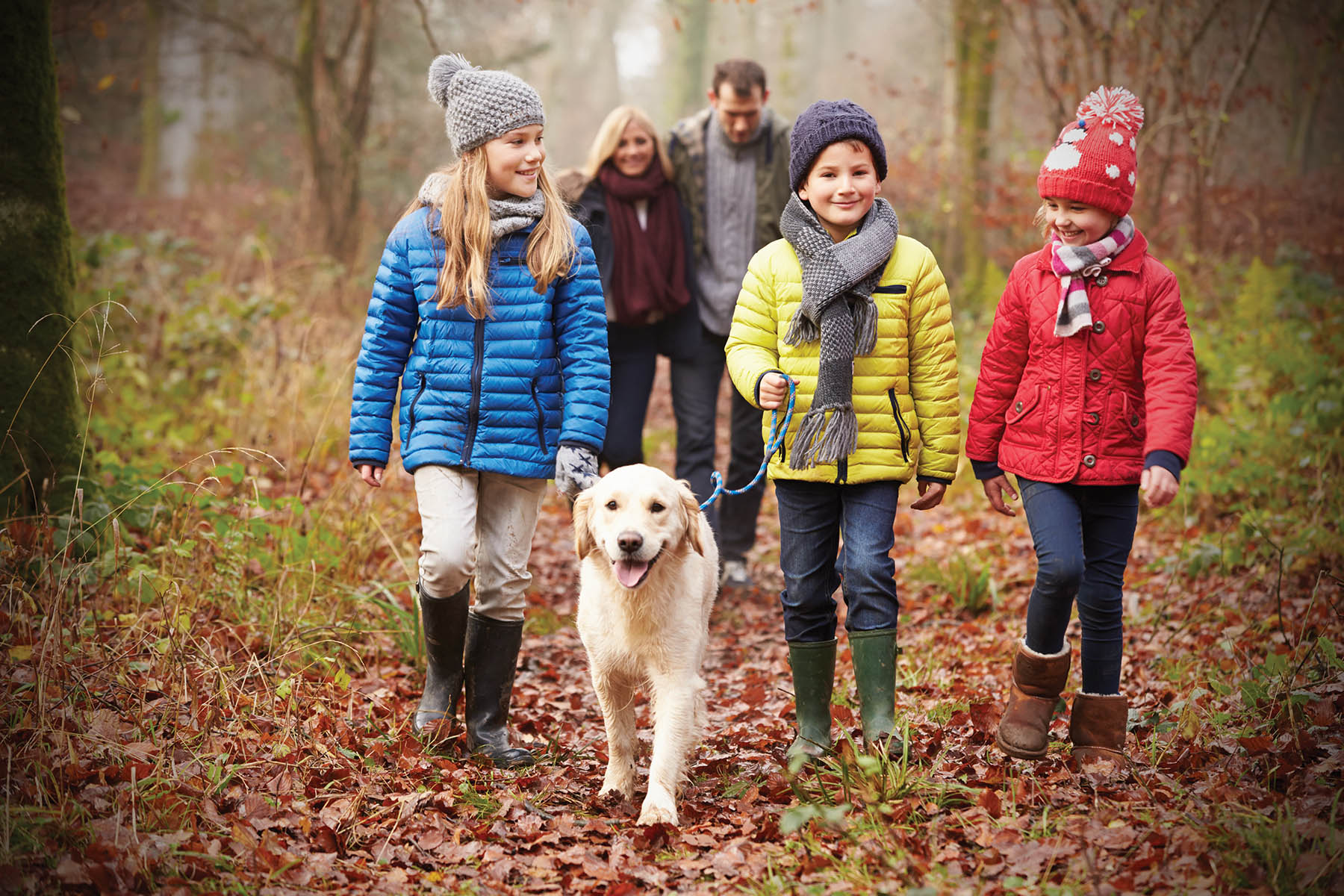 Family on hike with dog