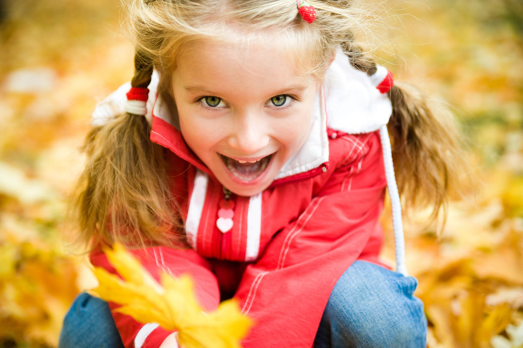 Young girl playing with fall colored leaves