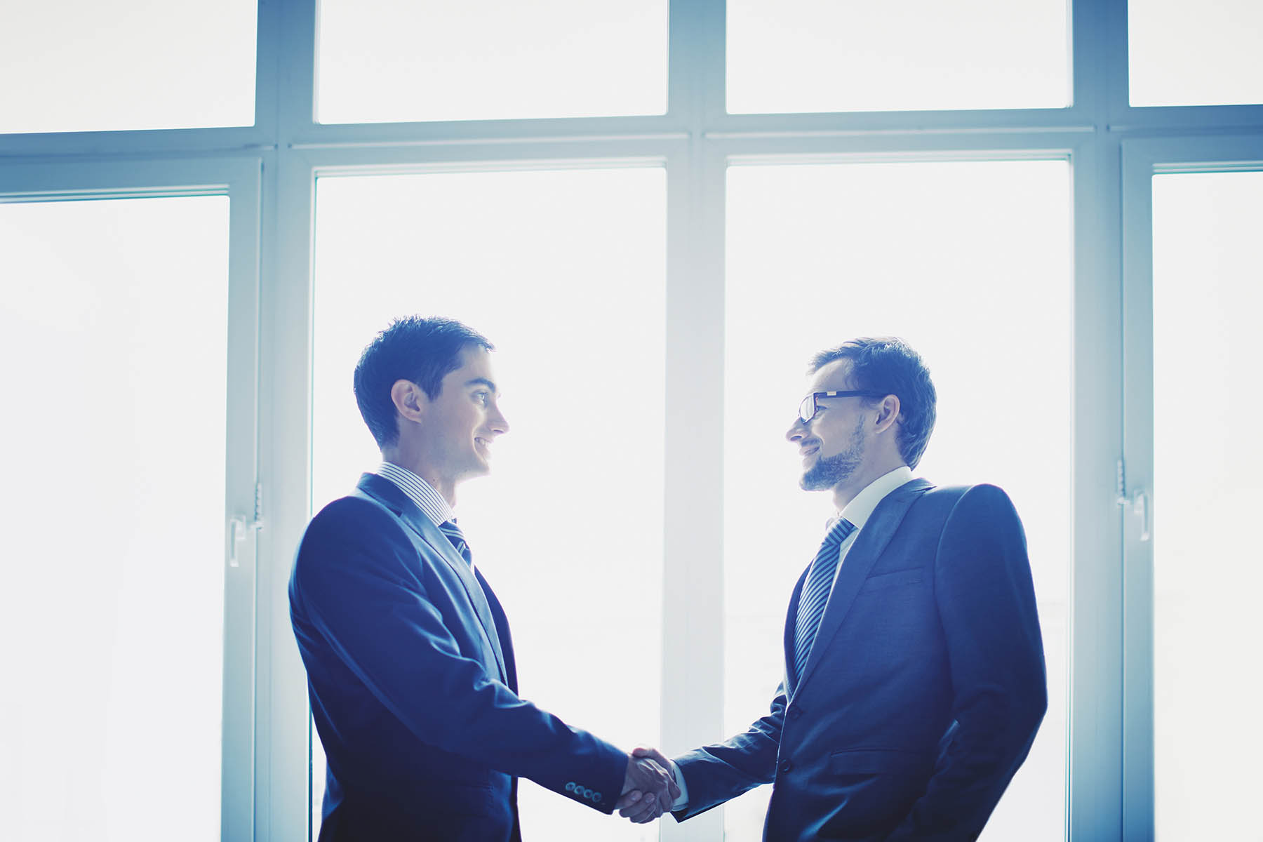 two business men shaking hands in front of the window