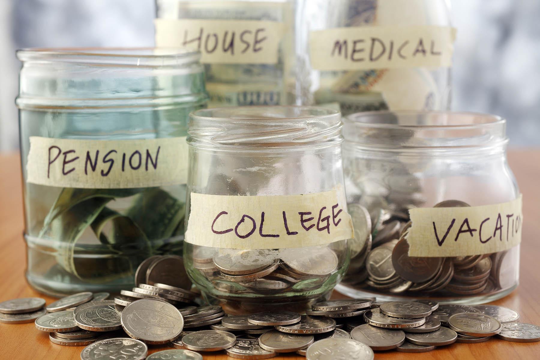 Savings jars college pension vacation medical house