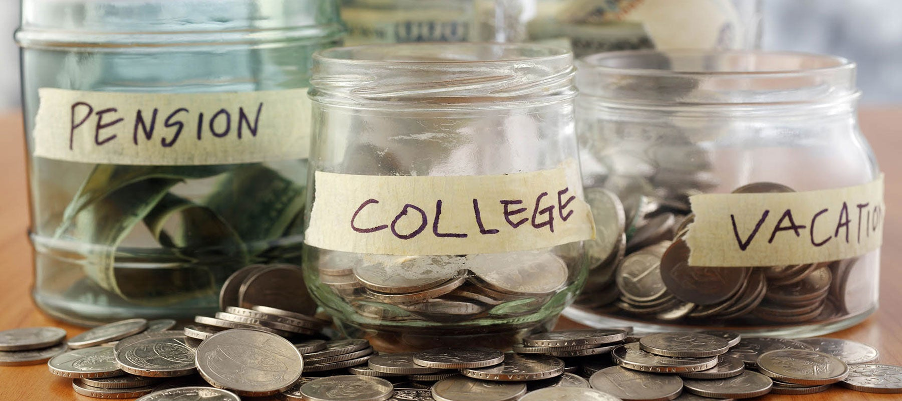 Money jars-savings-college