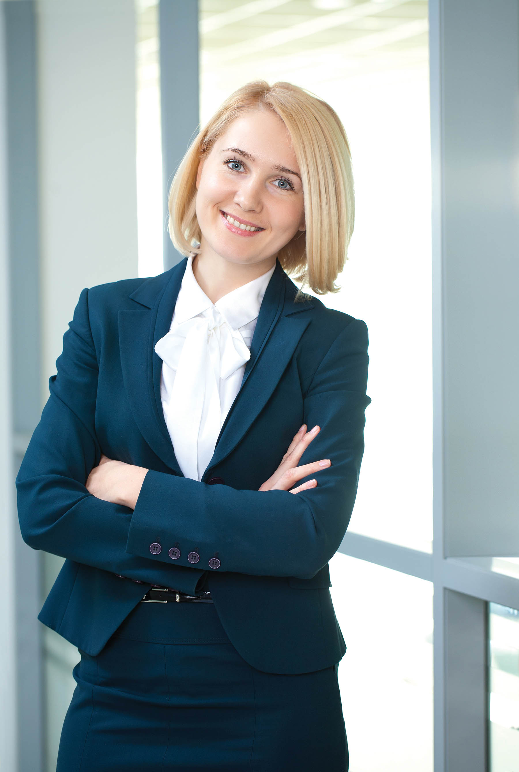 Female banker in suit