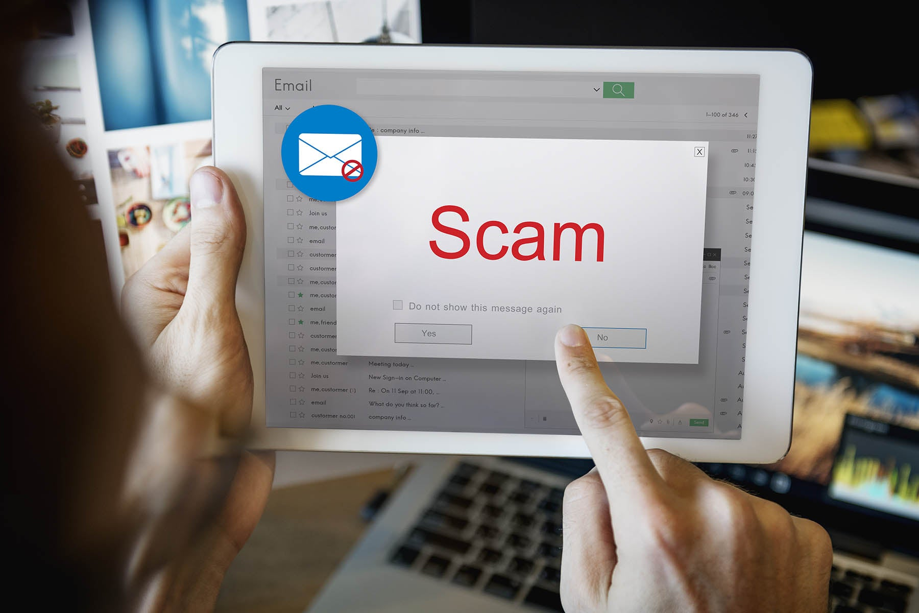 Email scam warning image