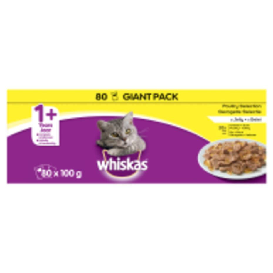 Whiskas 1+ Poultry Selection in Jelly Adult Cat Food Pouches