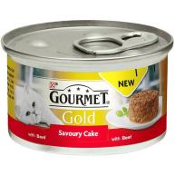 Gourmet Gold Savoury Cake Beef In Gravy Adult Cat Food 85g x 12