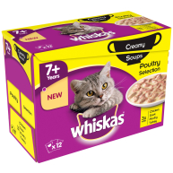 Whiskas 7+ Creamy Soup Poultry Selection Senior Cat Food 85g x 12