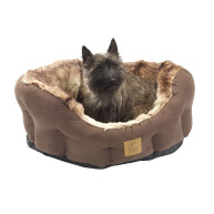 House Of Paws Arctic Fox Faux Fur Snuggle Dog Bed Medium