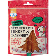 Good Boy Pawsley Chewy Steaks with Turkey & Cranberry Dog Treats