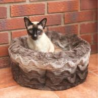 Rosewood Grey & Cream Snuggle Plush Cat Bed