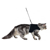 Trixie Soft Harness with Leash for Cats Medium - Black