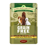 James Wellbeloved Lamb Adult Dog Grain Free Pouches 100g x 12