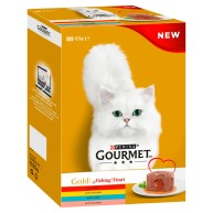 Gourmet Gold Melting Heart Meat & Fish Multipack Adult Cat Food 85g x 12
