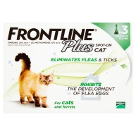 Frontline Plus Flea & Tick Spot On Cat 0.5ml x 3 Pipettes NFA-C