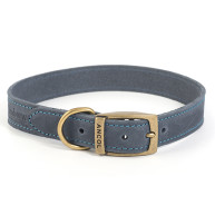 Ancol Timberwolf Blue Leather Dog Collar