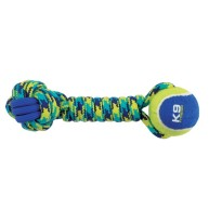 K9 Fitness Tennis Ball & Rope Dumbbell Dog Toy 12""