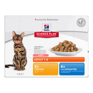 Hills Science Plan Adult Light Pouches Wet Cat Food Favourite Selection 85g x 72