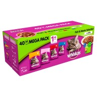 Whiskas 1+ Fish & Meat Selection in Jelly Adult Cat Food 100g x 40