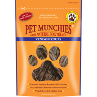 Pet Munchies Natural Venison Dog Treats 75g - Strips