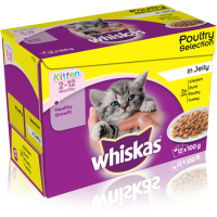 Whiskas 2-12 Months Poultry Selection in Jelly Kitten Food 100g x 12