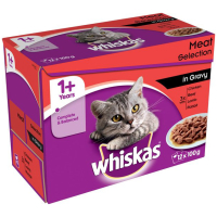 Whiskas 1+ Meat Selection In Gravy Cat Food Pouches 100g x 12