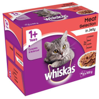Whiskas 1+ Meat Selection in Jelly Cat Food Pouches 100g x 12