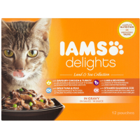 IAMS Delights Land & Sea Collection in Gravy Adult Cat Food  85g x 12
