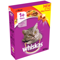 Whiskas Dry 1+ Beef Adult Cat Food 825g