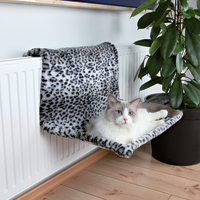 Trixie Snow Leopard Plush Radiator Cat Bed Snow Leopard