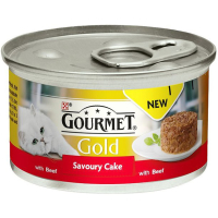 Gourmet Gold Savoury Cake Beef In Gravy Adult Cat Food 85g x 12