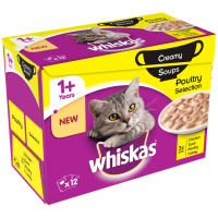 Whiskas 1+ Creamy Soup Poultry Selection Adult Cat Food  85g x 12