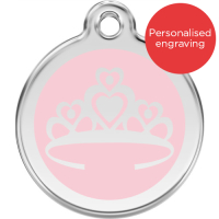 Red Dingo Dog ID Tag Stainless Steel & Enamel Crown