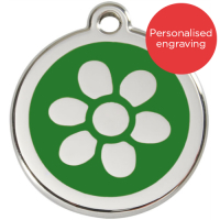 Red Dingo Dog ID Tag Stainless Steel & Enamel Flower Green