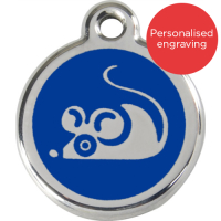 Red Dingo Cat ID Tag Stainless Steel & Enamel Mouse Dark Blue