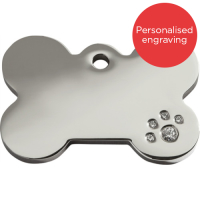 Red Dingo Swarovski Diamante Dog ID Tags Bone