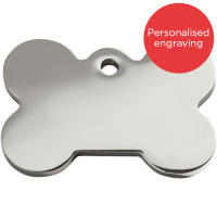 Red Dingo Flat Stainless Steel Dog ID Tag Medium Bone