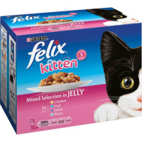 Felix Fish & Meat Selection In Jelly Pouch Kitten Food 100g x 12