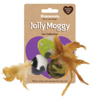 Jolly Moggy Feather Fleece Balls Pack of 3