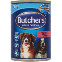Butchers Beef & Liver Chunks in Jelly Dog Food 400g x 12