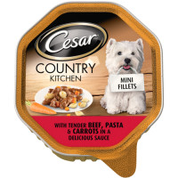 Cesar Tray Country Kitchen Mini Fillets Beef Pasta & Carrots Adult Dog Food